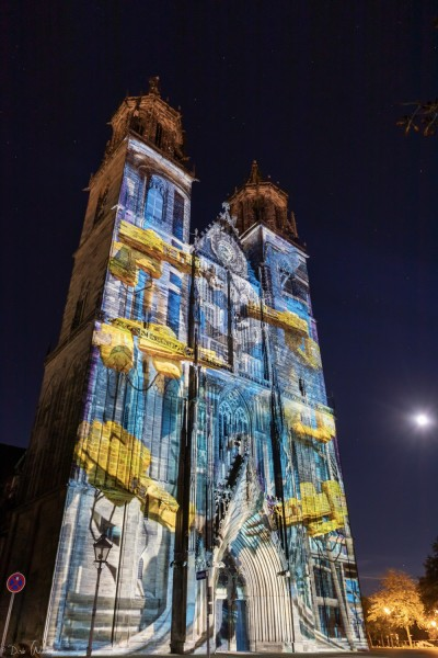 Magdeburg in Light - Lichtinstallation am Westportal - Stefan Haberkorn